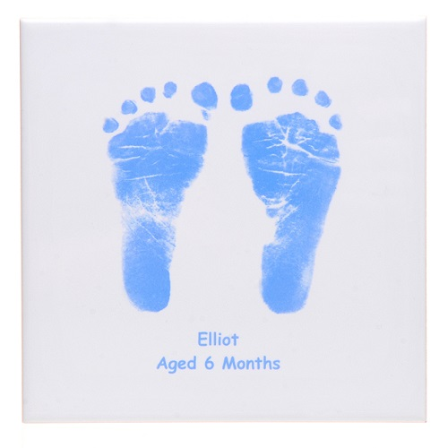 Baby Handprint And Footprint Square Ceramic Tile With